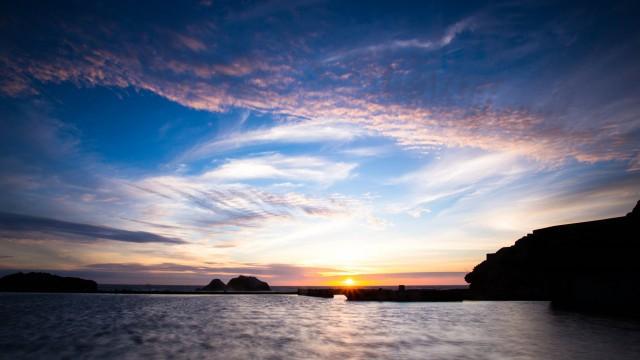 Sky blue Asahi sea