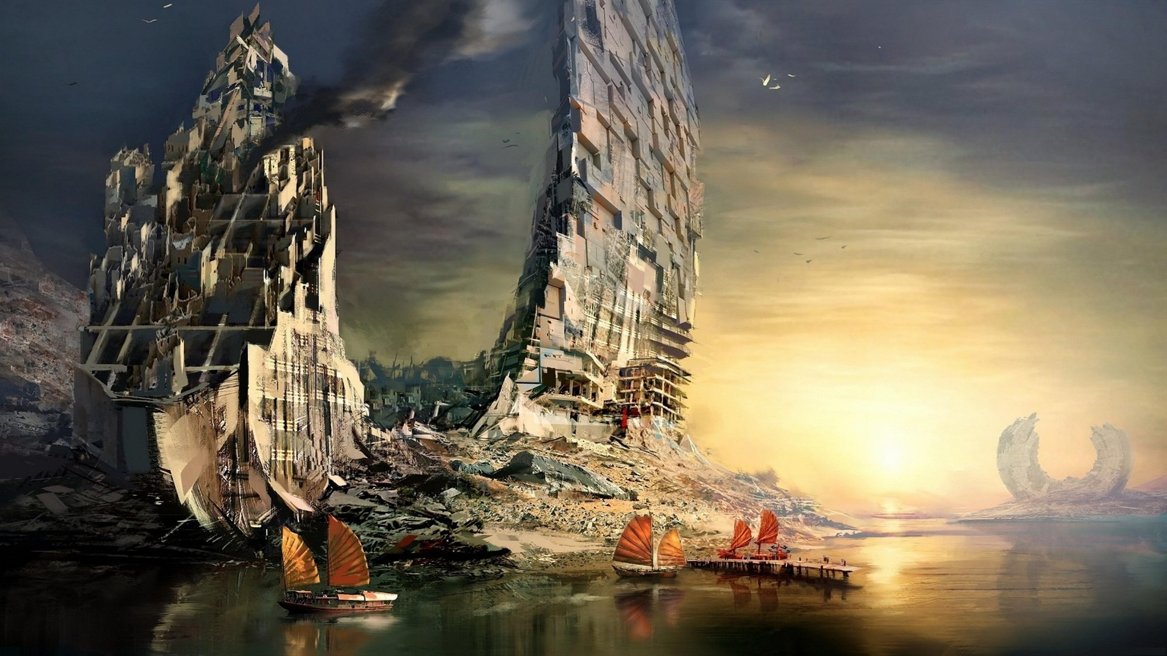 風景ヨット廃墟   4K壁紙.com
