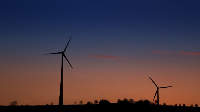 Landscape windmill sunset