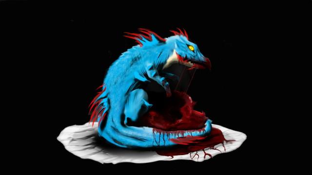 キャライラスト青黒ドラゴン